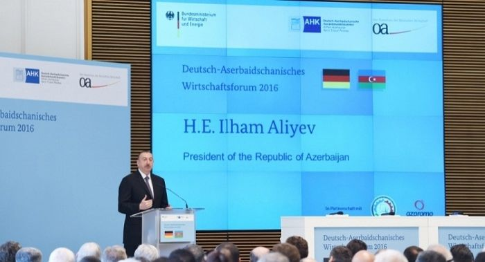 Ilham Aliyev at Azerbaijan-Germany business forum in Berlin - PHOTOS