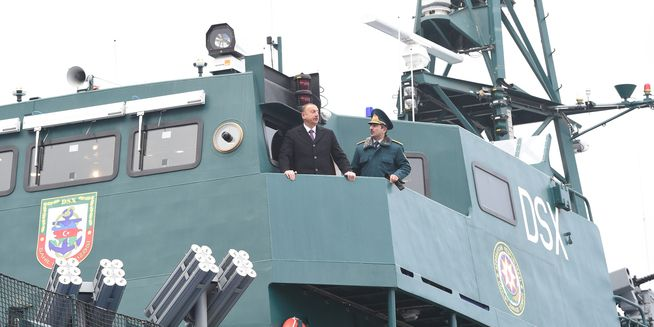 President Ilham Aliyev views newly-constructed ship of State Border Service - PHOTOS