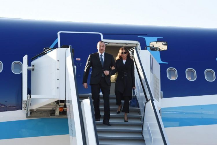 Ilham Aliyev, his spouse arrive in Germany on working visit