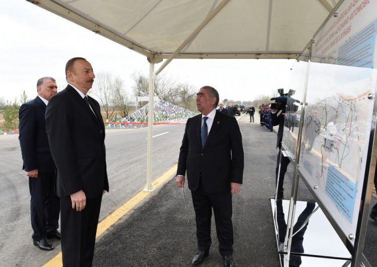 Ilham Aliyev attends opening of renovated highway in Saatli district