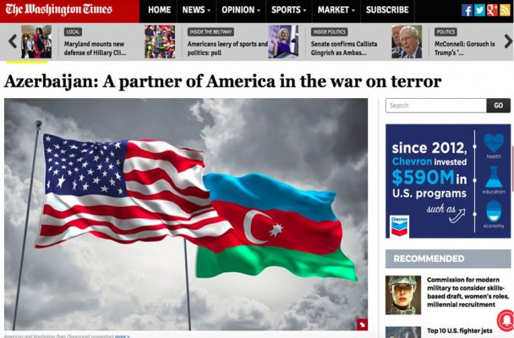 The Washington Times: Azerbaijan: A partner of America in the war on terror