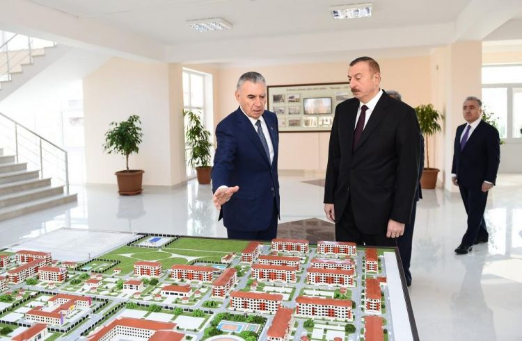 President Aliyev views new residential complex for IDPs in Tartar