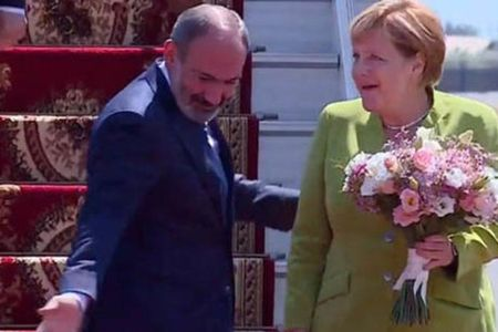 Merkel arrives on working visit to Armenia